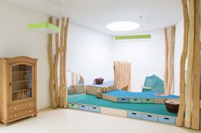 """Kita """"Kristiansand"""" der Ulna Nord gGmbH in Norderstedt. Soziales Deign von MJUKA. Gebäudeplanung: bmwquadrat architekten- Marcello+Wiegers/Hamburg."""