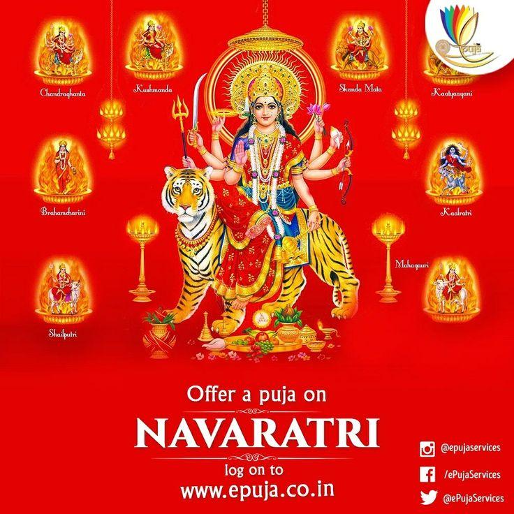 #Navaratri is a significant Hindu festival which is observed for 9 nights and 10 days. During Navratri, nine forms of Goddess Durga are worshipped. They are #Shailaputri, #Brahmacharini, #Chandraghanta, #Kushmanda, #Skandamata, #Katyayani, #Kalaratri, #Mahagauri & #Siddhidatri. To offer puja on the occasion of #Navaratri click here https://goo.gl/Szugr6