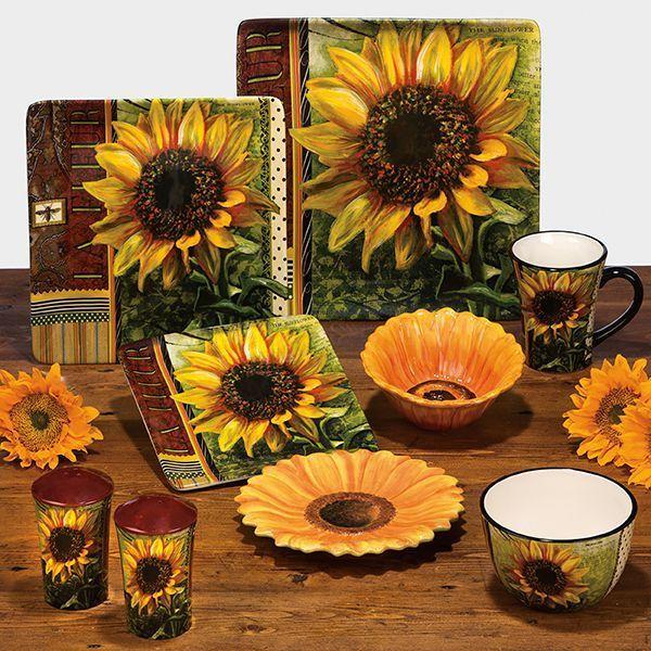 Ceramic Fashion Rustic American Sunflower Decoration Plate Hanging Western Dish Mug Bowl U Kitchen Home Decor