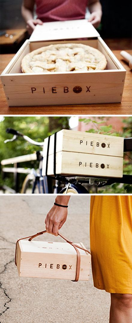 Reusable raw pine box designed to safely transport pie. Whether you're driving, biking, taking the bus, or just walking, PieBox will keep your pie safe and intact. Every PieBox is handcrafted in Chicago.