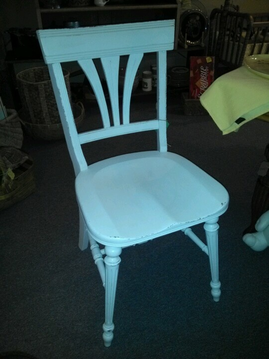 White chalk painted chair ~