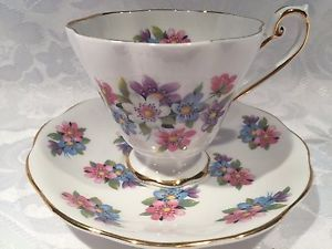 Elegant Royal Standard Tea Cup and Saucer with lovely Flowers Fine Bone China