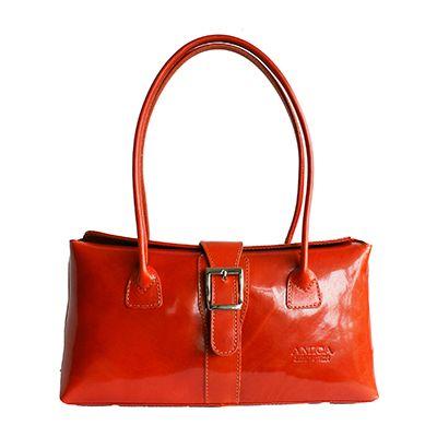 Buckle Lock Orange Leather Shoulder Bag - £59.99