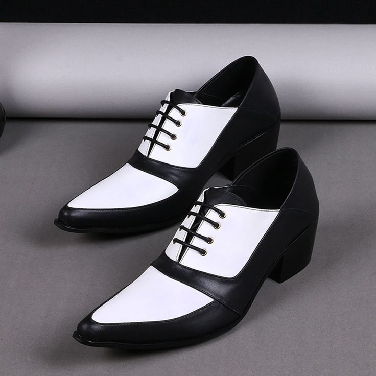 ==> [Free Shipping] Buy Best Black White Mixed Colors Cool Lace-Up Chunky Heel Italian Men Dress Shoes Pointed Toe Repair Skin Leather Loafers Wedding Shoes Online with LOWEST Price   32795061166