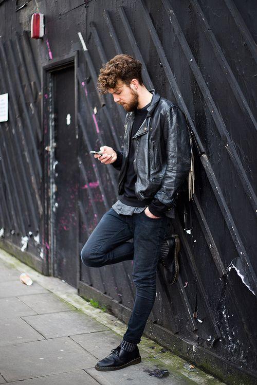 dr Martens jeans leather jacket beard Style men tumblr