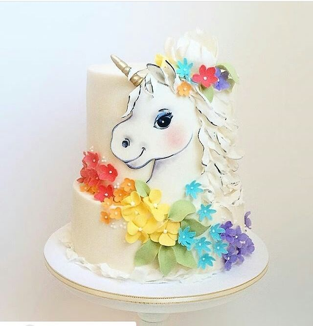Unicorn with rainbow flowers