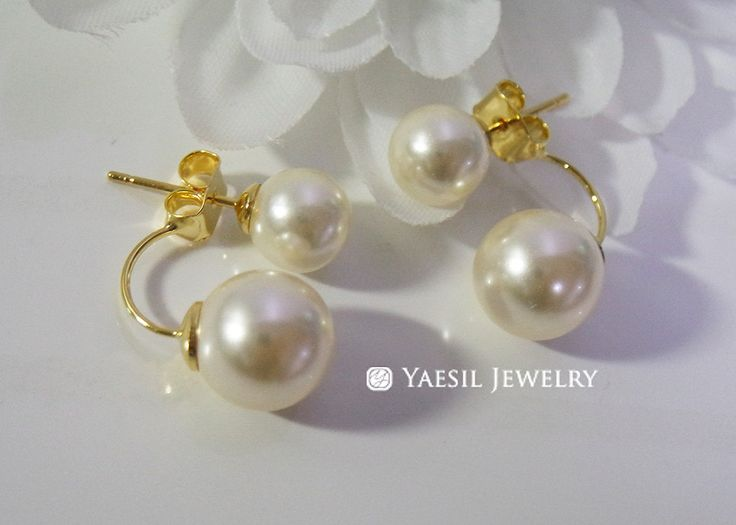 Classic [8/10] Double Pearl Earrings in Cream, Sterling Silver Post, Bridal Earrings by YaesilJewelry on Etsy