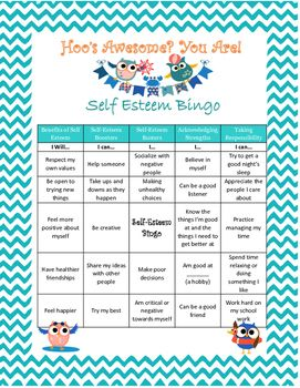 """Self-Esteem+Bingo+GameA+fun+way+to+encourage+students+to+think+about+and+discuss+self-esteem.+Categories+include+""""Benefits+of+Self-Esteem"""",+""""Self-Esteem+Boosters"""",+""""Self-Esteem+Busters""""+and+more.+The+game+comes+with+29+examples+that+fit+within+the+categories+to+be+pulled+as+the+""""bingo+numbers""""."""