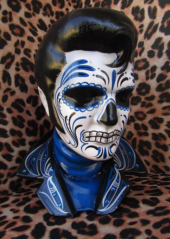 Blue Elvis Day of the Dead Ceramic Bust. Shop: missluckyhellcatart