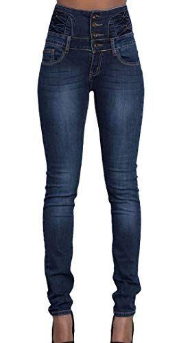 9dcd8a5e35 Fräulein Fox Femme Mode Skinny Denim Pants Crayon Longue Pantalons Casual Haute  Taille Jeans avec Bouton
