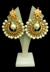 White Kundan Studded Earring