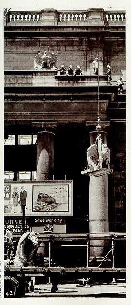 Vintage 1963, the eagles are removed from Penn Station before demolition, NYC, www.RevWill.com