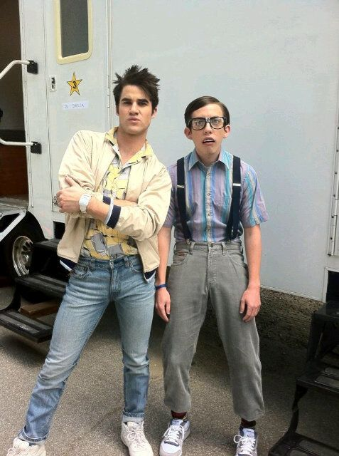 """Darren Criss & Kevin McHale in """"Last Friday Night""""...oh my god i can't believe they were both in the video and they did it for glee!!!!!"""
