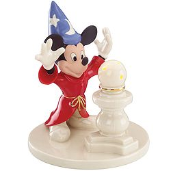 """Mickey Mouse re-creates his famous role as the """"Sorcerer's Apprentice"""" in this sculpture. The light-up globe glows with a soft LED display, capturing the magic from this classic Disney film."""