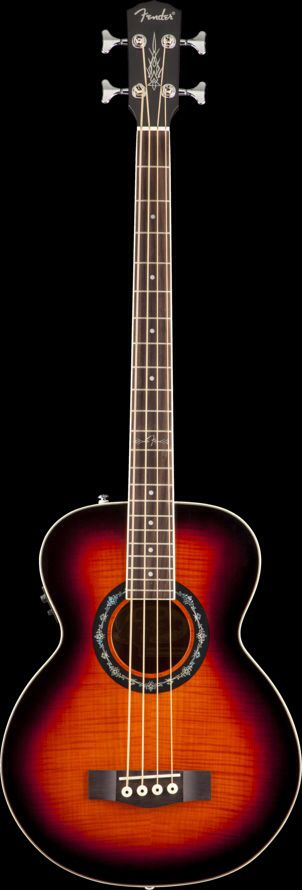 "The T-Bucket Bass E acoustic bass guitar is even more supercharged now, with upgraded features including a remarkable new holographic rosette inlay, new 12th-fret ""F"" logo inlay design. The other grea"