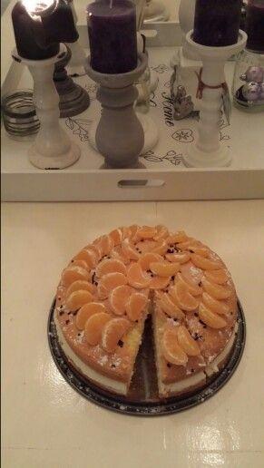 Kwark slagroom manderijn taart.