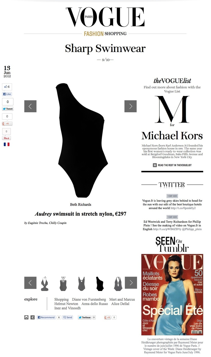 The Audrey 1-piece was listed in PARIS VOGUE's top 10 Sharp Swimwear for the S12 season.