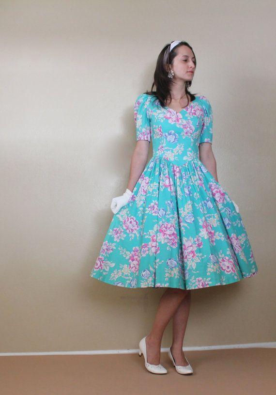 Reserved Aqua Floral Sweetheart Dress Laura Ashley Full