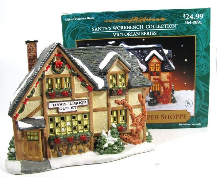 Davis Liquor Outlet Lighted Porcelain House Santa's Workbench Coll Victorian