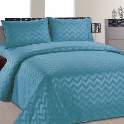 Home Sweet Home Dreams Chevron Sheet Set Color: Aqua, Size: Twin