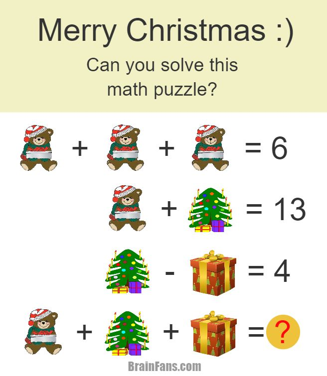 brain teaser number and math puzzle christmas math puzzle for genius can you solve this. Black Bedroom Furniture Sets. Home Design Ideas