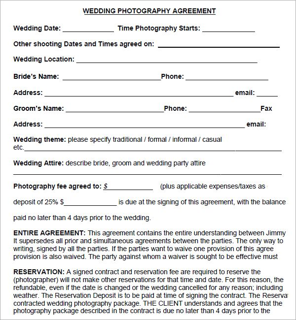 Free Wedding Photography Contract Pdf: Simple Photography Contract Template