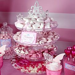 Lay your pick 'n' mix out on a cake stand for a cute princess candy buffet idea. Perfect for a princess themed party.