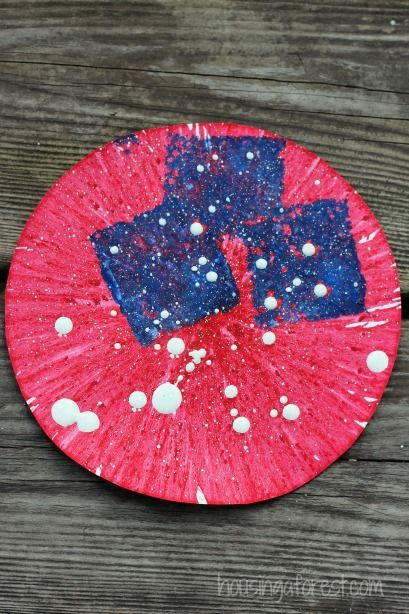 Spin Art American Flag Craft