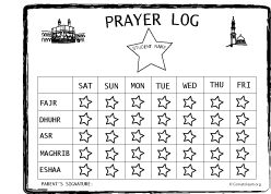 Islamic Prayer Log - Salah Log For Kids