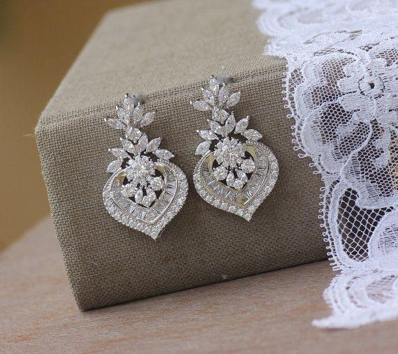Crystal Ohrringe Weissgold Silber Crystal Bridal von JamJewels1