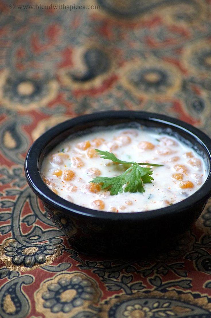 Boondi Raita~| 4S | 2C yogurt, 1/4c milk, 3/4c boondi, 1/2t roasted jeera powder or gharam masala, 1/4 mirch