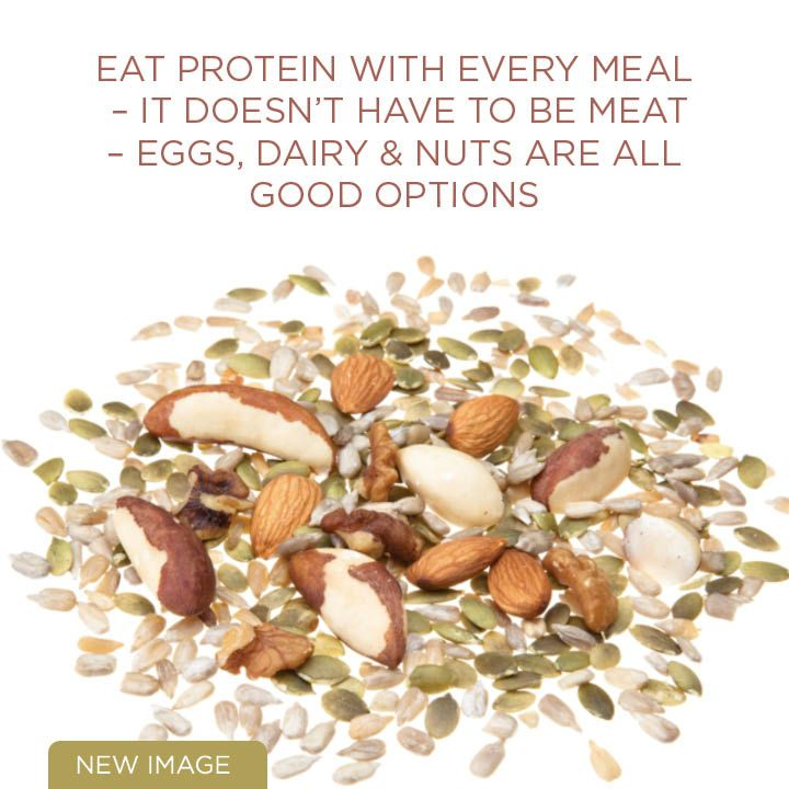 Eat protein with every meal, reduces hunger!