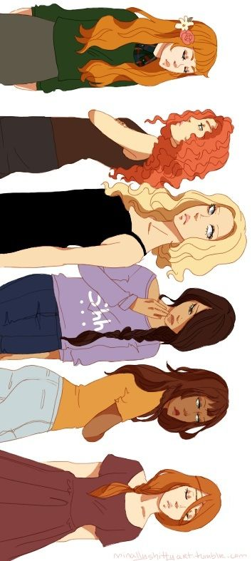 From top to bottom, Juniper, Rachel, Annabeth, Piper, Hazel, and Calypso<<<<Reyna looks pretty in this picture. I hate that the official art portrays her as ugly. She's beautiful