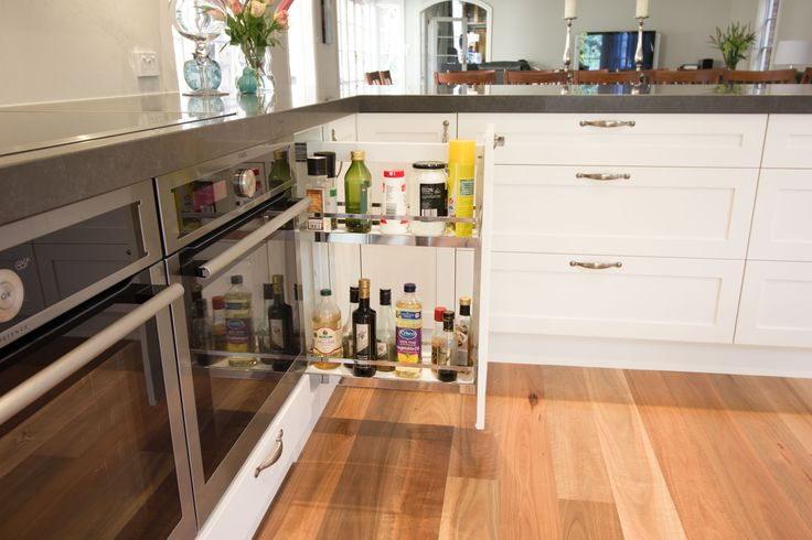 Pull-out pantry. Spice rack. Oil rack. Double oven. www.thekitchendesigncentre.com.au