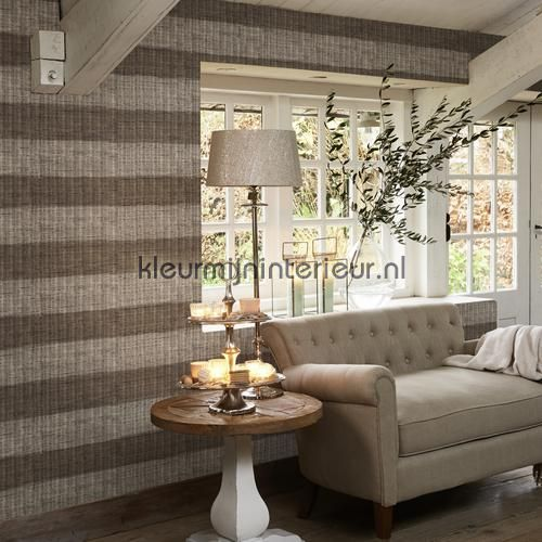 Geweven ratan horizontale streep bruin behang 18320, Riviera Maison van BN Wallcoverings