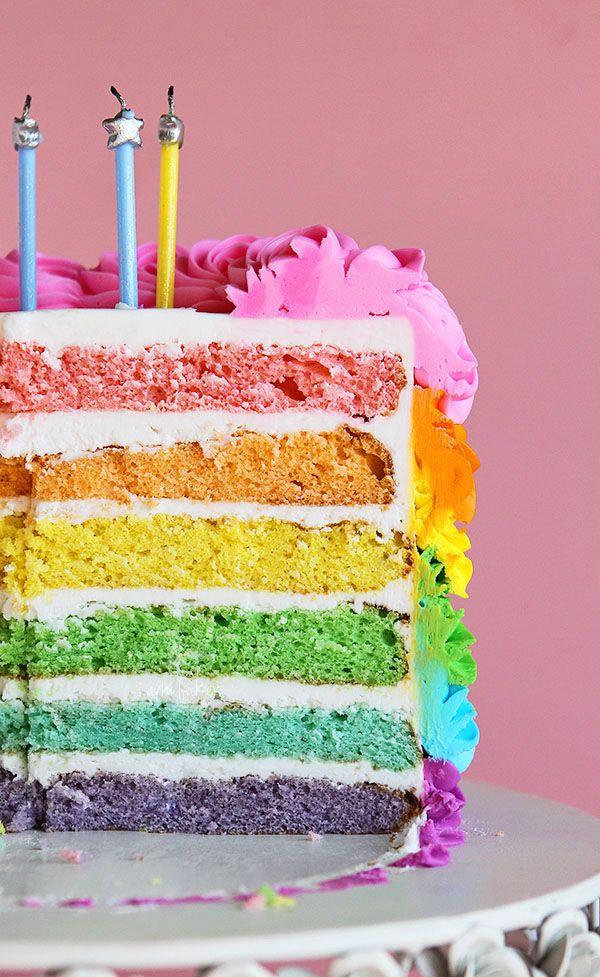 {this cake is stunning!} Swirly Rainbow Cake (Inside and Out!) #rainbow #cake #birthdaycake from @Amanda Rettke