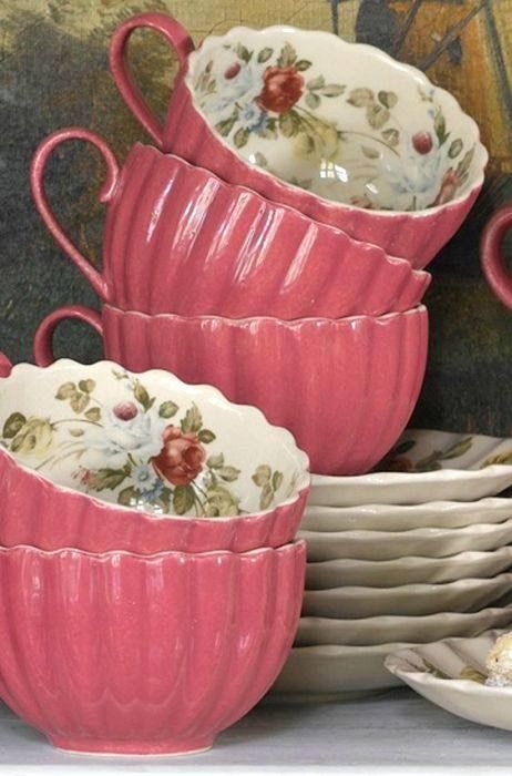 Pink Fluted Cups & Saucers with Floral Design ....