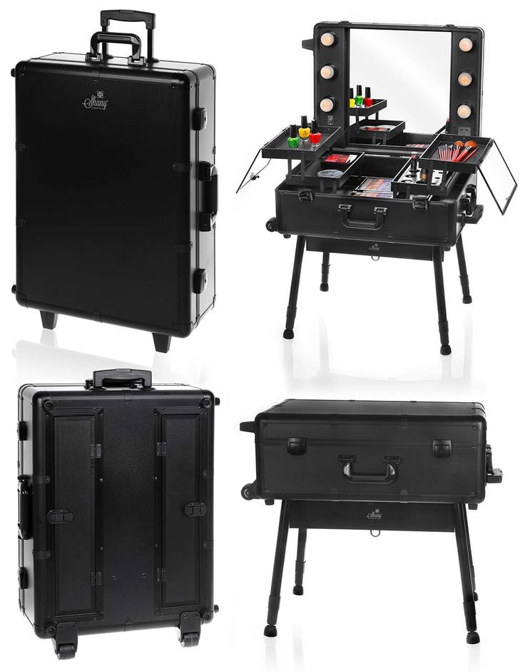Studio To Go Makeup Case with Light - Pro Makeup Station - BLACK - TRAIN CASES