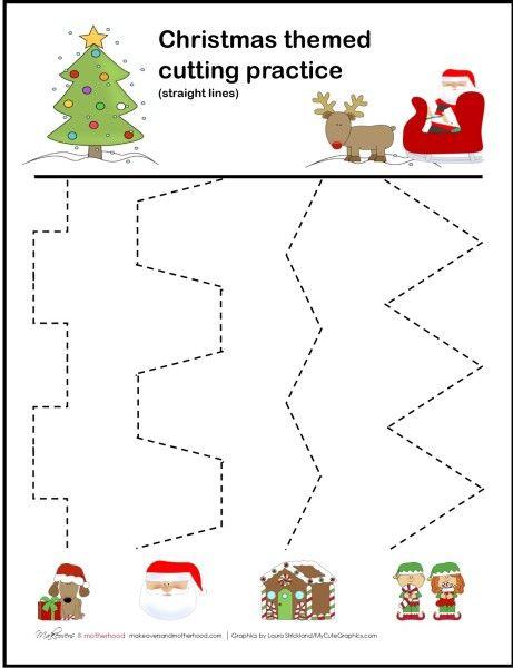 Christmas cutting practice printable; www.makeoversandmotherhood.com                                                                                                                                                      More