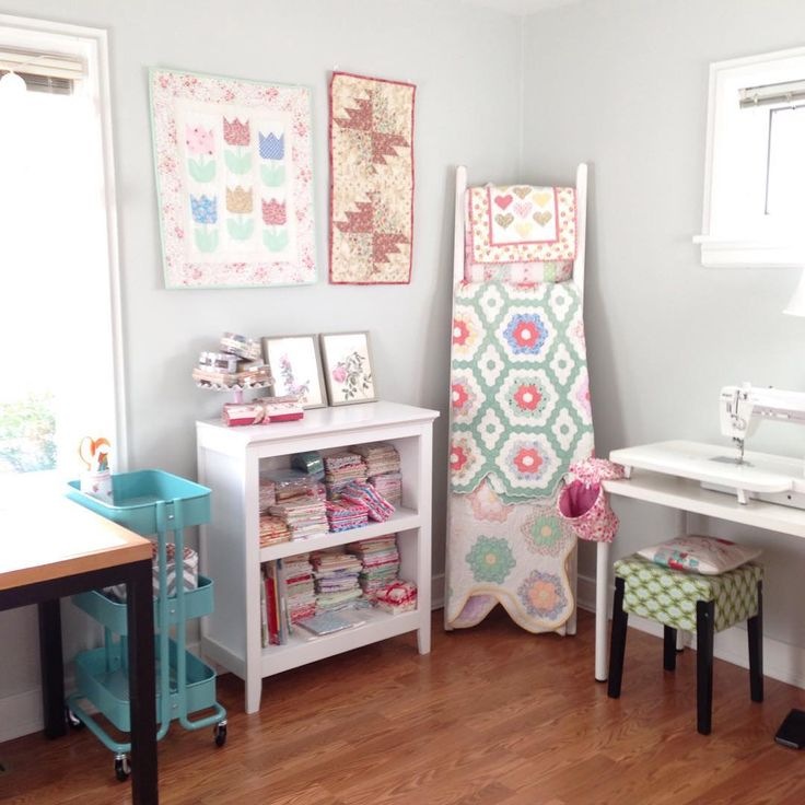 """Feels good to unpack my sewing stuff. We called this the purple room before we painted it and i claimed it as my sewing room! So happy to be back in the…"""