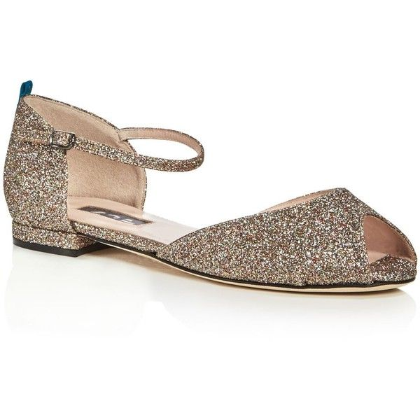 Sjp by Sarah Jessica Parker Ursula Glitter d'Orsay Peep Toe Flats ($365) ❤ liked on Polyvore featuring shoes, flats, rose gold, d'orsay flats, flat peep-toe shoes, flat pumps, peep toe flats and peep-toe flats