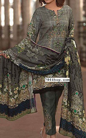 Grey Twill Linen Suit | Buy Zara Ali Pakistani Dresses and Clothing online in USA, UK
