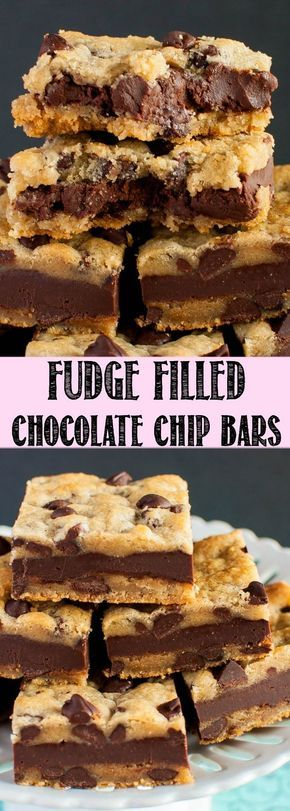 Fudge Stuffed Chocolate Chip Cookie Bars are an indulgent dessert sure to knock your socks off! These easy, chewy, chocolatey bars are and crazy delicious!