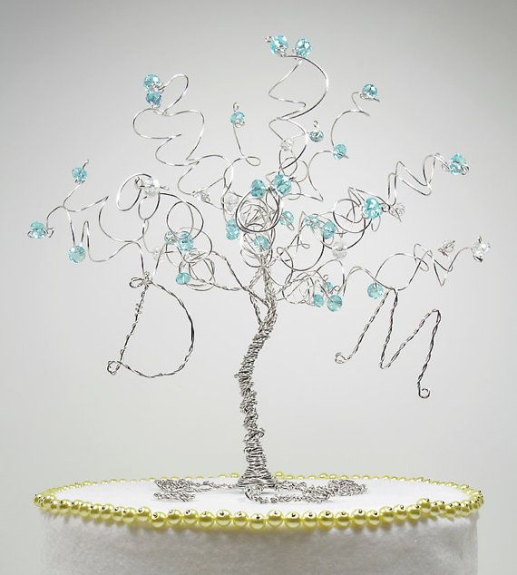 Tiffany Blue Wedding Cake Topper Wire Tree Sculpture on Etsy, $50.00