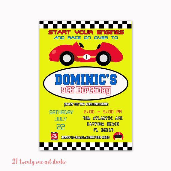 Race Car Birthday Invitation Race Car Party Racecar Birthday