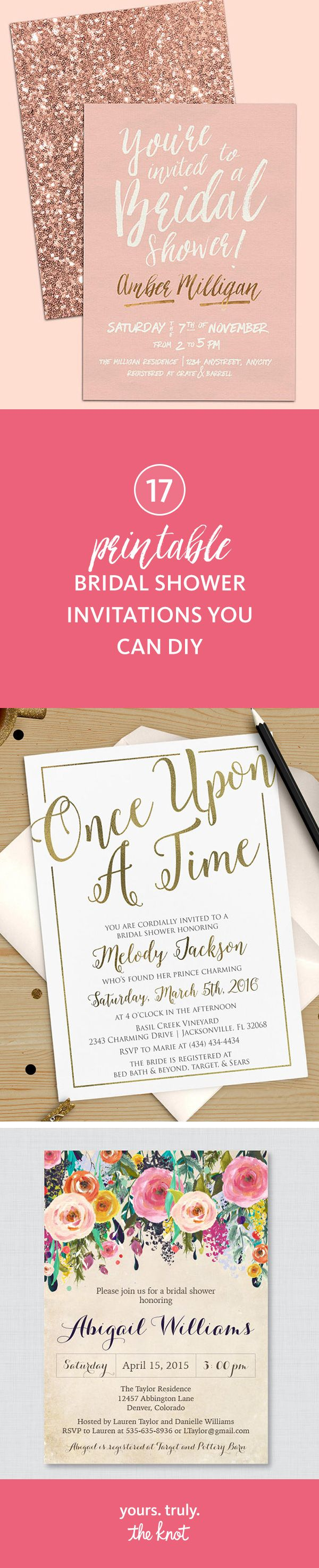simple diy bridal shower invitations%0A    Printable Bridal Shower Invitations You Can DIY