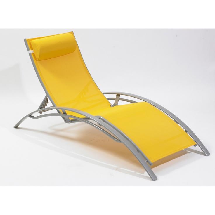 Bain de soleil en aluminium DCB GARDEN, gris et jaune   Leroy Merlin