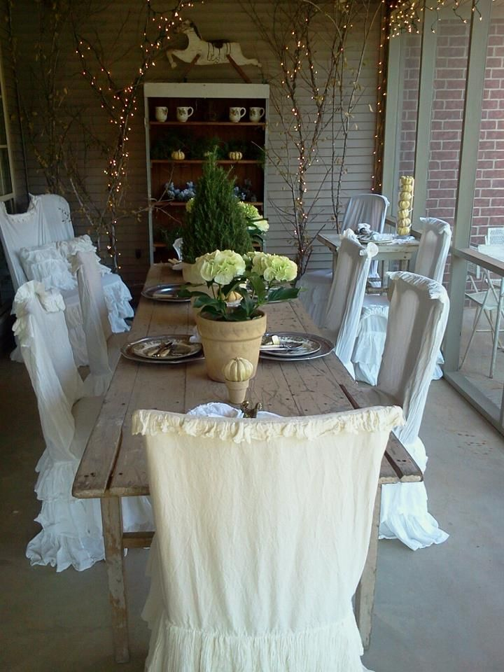 9 best white diningroom images on pinterest chair slipcovers chairs and cottage dining rooms - Shabby chic dining room chair covers ...