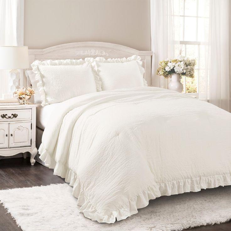 White Reyna Comforter Set (King) - Lush Decor