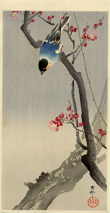 White Birds in Snow by Ohara Koson. Shin-hanga. wildlife painting